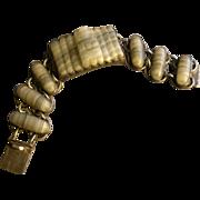 Vintage Signed Mexican Sterling Silver & Carved Banded Agate Bracelet