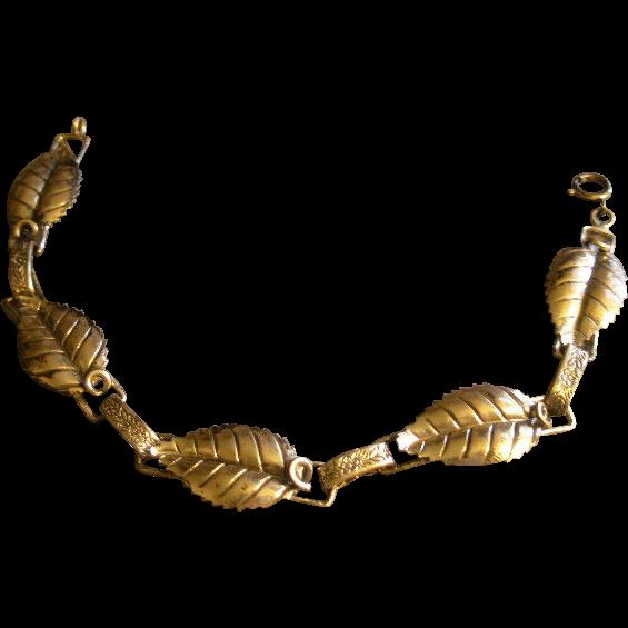 "Vintage Michele Sterling Silver ""Leaf Motif"" Bracelet"