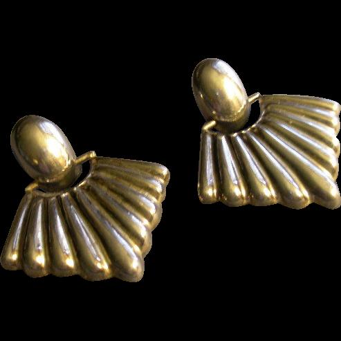 Mexican Modernist Sterling Silver Earrings w/Ribbed Fan Drop - Pierced Style