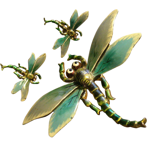 "Walter Lampl Art Nouveau Style Enameled ""Dragonfly"" Brooch & Clip Earrings"