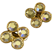 Ben Amun Gold-Tone & Diamond Rhinestone Clip-Style Earrings