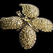 """Coro Vendome Silver-Tone & Diamond Rhinestone Encrusted Figural 'Butterfly"""" Brooch"""