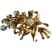 """Pennino"" Sterling Silver, Gold Vermeil Floral Brooch w/Diamond, Blue Sapphire & Ruby Rhinestones"