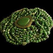"""Celia Sebiri"" Vintage Eight-Strand Jade Bead Torsade Necklace w/Jade Clasp"