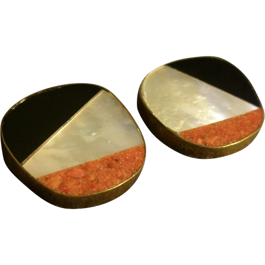 """Celia Sebiri"" Vintage Inlaid Mother-of-Pearl, Onyx & Crushed Coral Clip Earrings"