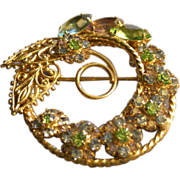 """Hobe"" Gold-Tone and Colored Rhinestone Wreath Brooch"