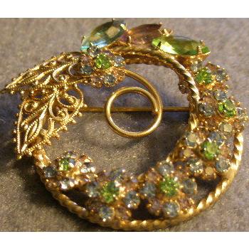 """Hobe"" Gold-Tone and Colored Rhinestone Wreath Brooch"