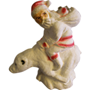 "German Paper Mache ""Santa Riding A Polar Bear"" Candy Container - Red Tag Sale Item"