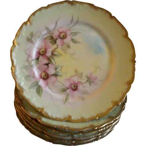 Set of 6 T&V Limoges Hand Painted Salad/Dessert Plates w/Pink Wild Roses Motif