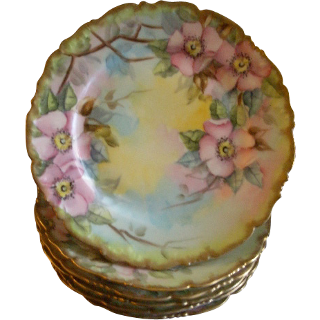 Set of 6 T&V Limoges Hand Painted B&B/Dessert Plates w/Pink Wild Roses Motif
