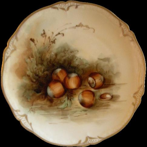 Pickard Studio Hand Painted Cabinet Plate w/Naturalistic Hazelnuts/Filberts Motif
