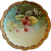 Pickard Studio Hand Painted Cabinet Plate w/Naturalistic Red Raspberry Motif - Signed E.Challinor