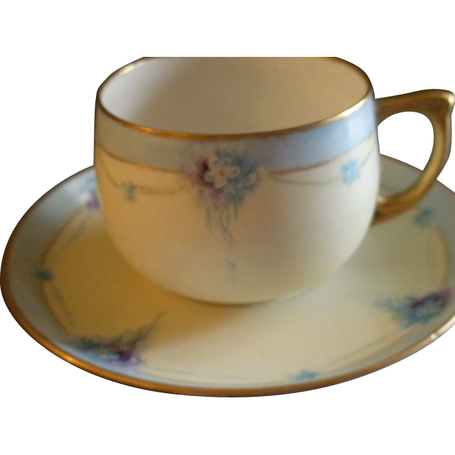 Set of 6 MZ Austria Hand Painted Cups & Saucers w/Nosegay Bouquets Motif