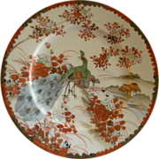 Meiji Period Hand Painted Kutani Porcelain Cabinet Plate w/Peacocks, Floral & Scenic Motif
