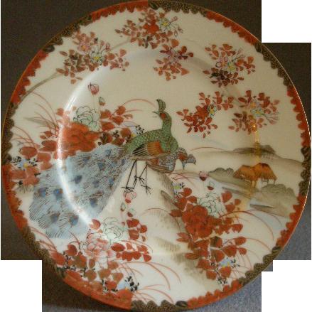 Meiji Period Hand Painted Kutani Porcelain Cabinet Plate w/Peacocks, Floral & Scenic Motif