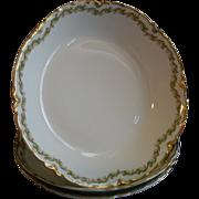 Set of 3 Haviland & Co. Limoges 'Clover Leaf' Pattern Coup-Style Soup Bowls, Schleiger #98