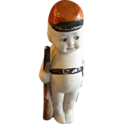 "Bisque ""Kewpie-Type"" Soldier Boy Figurine - 4"" in height"