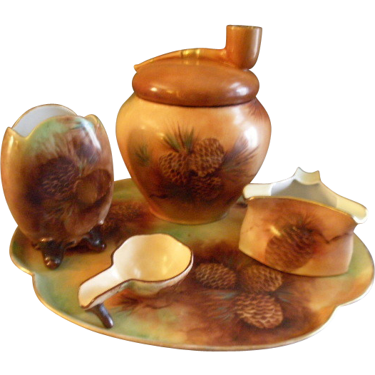 Porcelain Hand Painted 5-Piece Smoking Set w/Pine Cones & Pine Needles Motif