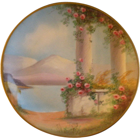 Pickard Studio Hand Painted 'Italian Gardens' Pattern Cabinet Plate - Signed E. Challinor