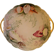 Delinieres Limoges Hand Painted Cake Plate w/ Ocean Seascape Motif