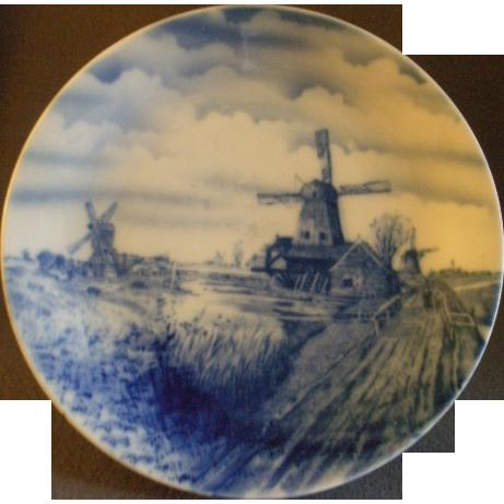 O & E G Austria Blue & White Delft Charger w/Canal & Windmills Scene