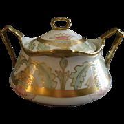Limoges LDBC Flambeau H.P. Cracker Jar w/Stylized Thistle Blossoms Motif