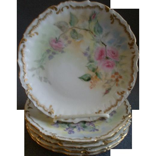 Set of 5 Elite Limoges Hand Painted Salad/Dessert Plates w/Different Floral Motifs