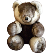 "Vintage Fur Teddy Bear by Helen Duggan ""Palm Beach Bears"" - Chinchilla Rex Rabbit"