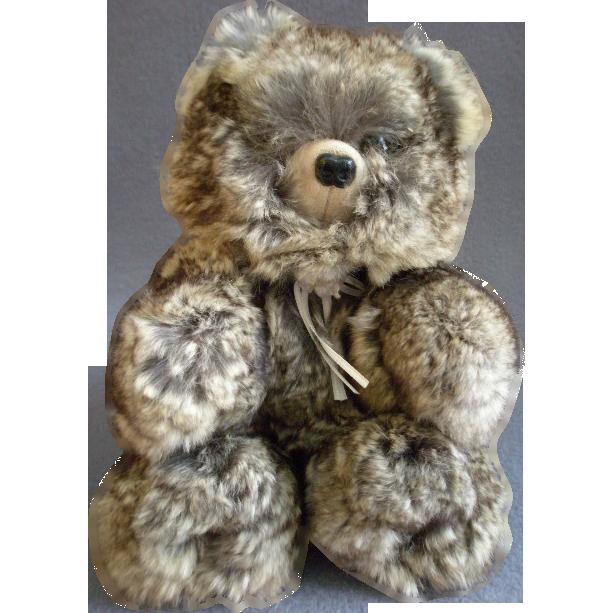 """Vintage Fur Teddy Bear by Barry & Sue Dovaston """"Basu Enterprises"""" - Chinchilla"""