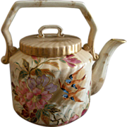 Porcelain Hand Painted Teapot w/Azalea & Tree Swallows Decoration