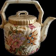 Porcelain Hand Painted Teapot w/Azalea & Tree Swallows Decoration