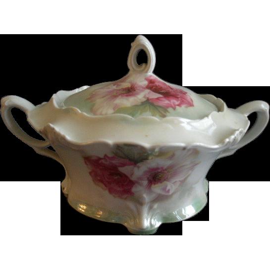 "Wheelock ""Prussia"" Transfer Design Biscuit/Cracker Jar w/Peony Floral Motif"