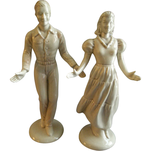 "Roselane Pottery - Pair of ""Square Dancer"" Figurines - California"