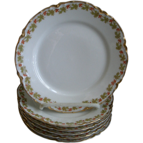 "Set of 6 Haviland & Co. Limoges ""Red Flowers & Green Leaves"" Pattern Bread & Butter Plates - Ranson w/Gold Blank #1"
