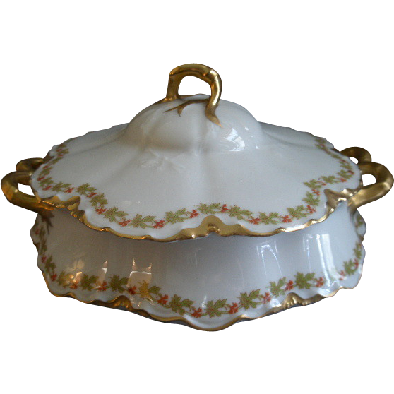 """Haviland & Co. Limoges """"Red Flowers & Green Leaves"""" Pattern Round Covered Vegetable Bowl  - Ranson w/Gold Blank #1"""