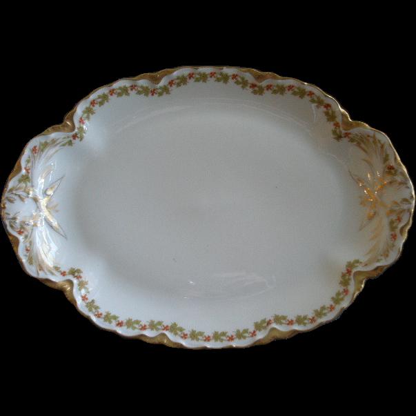 "Haviland & Co. Limoges ""Red Flowers & Green Leaves"" Pattern Oval Serving Platter  - Ranson w/Gold Blank #1"