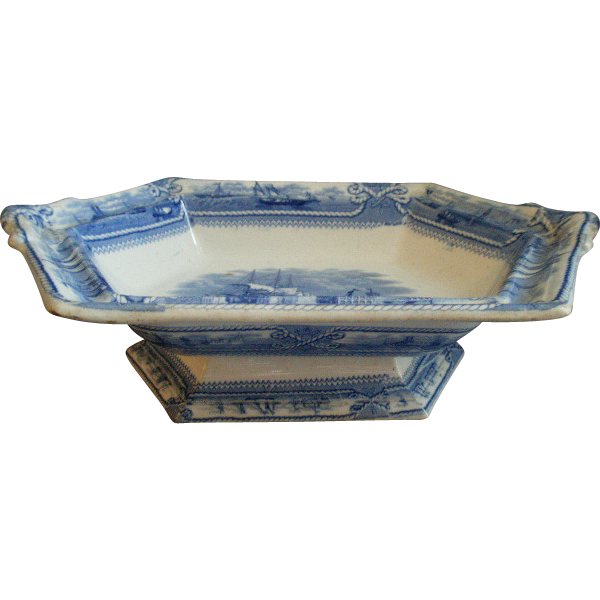 "Francis Morley & Co. Blue Transfer-ware Vegetable Compote ""American Marine"" Pattern"
