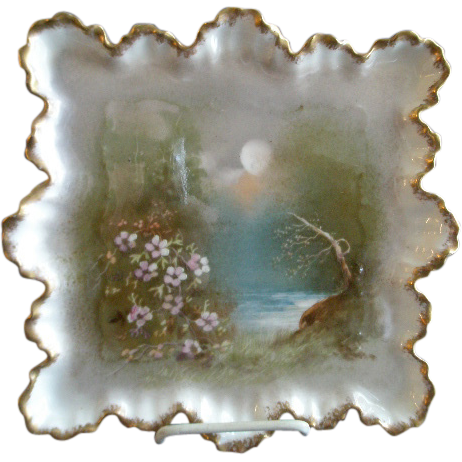 "Blakeman & Henderson Limoges Hand Painted ""Hazy Moonlight Scenic"" Dresser/Serving Tray"