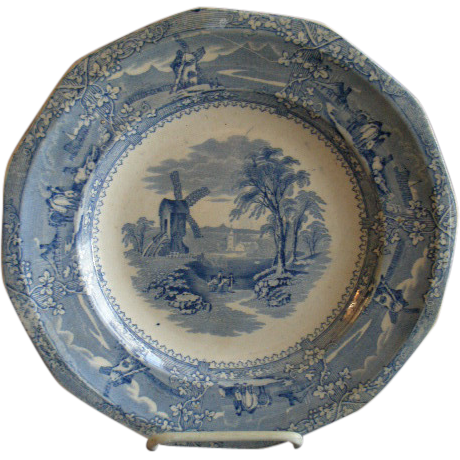 "George Wooliscroft Ironstone Blue Transfer-ware ""Eon"" Pattern Dinner Plate -  1850's"