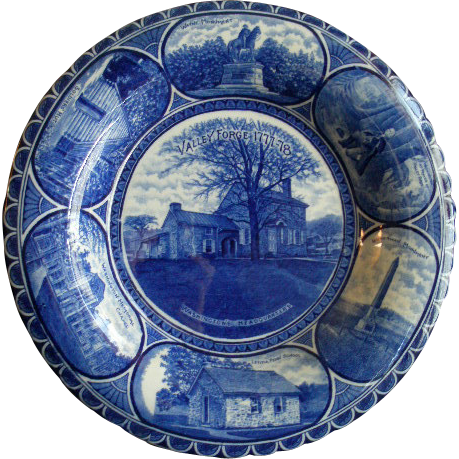 "Rowland & Marsellus Blue-Transfer ""Valley Forge 1777-78"" Shallow Bowl"
