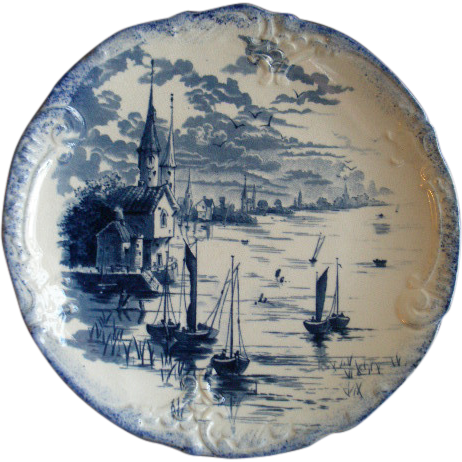Empire Porcelain Co. Blue Transfer Cabinet Plate w/Scenic Lakeshore and Sailboat Motif