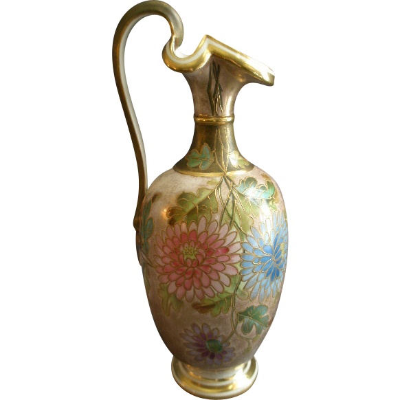 Old Hall Porcelain Works Ltd Hand Painted Ewer w/Chrysanthemum Floral Motif
