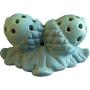 Van Briggle Pottery 'Double Acorn' Flower Frog - Turquoise Ming Glaze