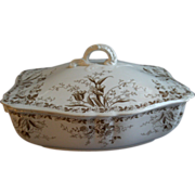"Alfred Meakin Brown Transfer ""Westmeath' Pattern Covered Vegetable Tureen"