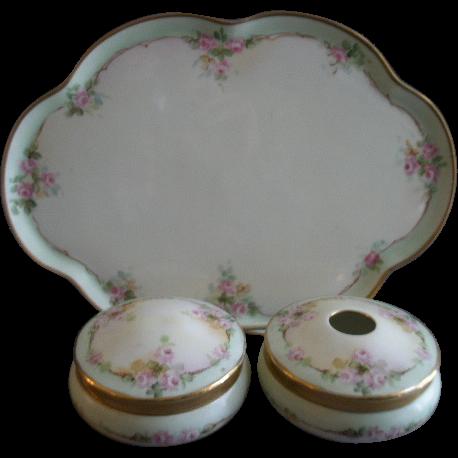 Hand Painted Bavaria 5-Piece Dresser/Vanity Set w/Pink Tea Roses Motif