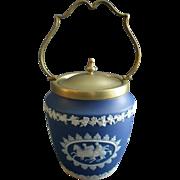Wedgwood Dark Blue Jasper-Ware Biscuit Jar w/Neoclassical Motif