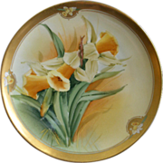 Pickard Studio Hand Painted Cabinet Plate w/ Golden Daffodil Floral Motif