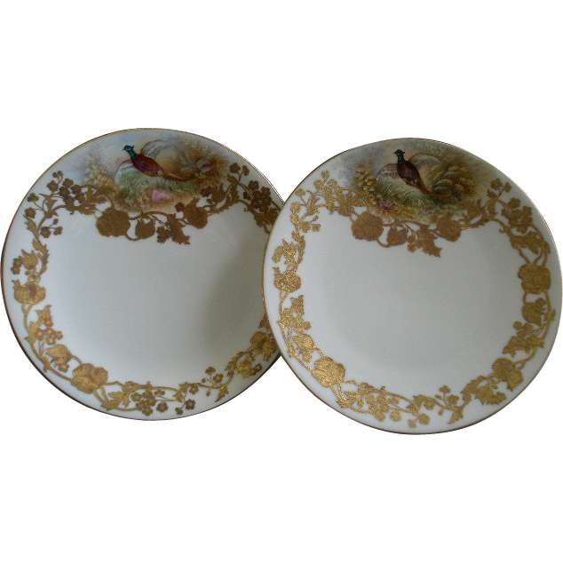 (Pair) Ovington Bros. New York H.P. Gold Encrusted Game Plates w/Pheasant Decoration