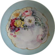 Jean Pouyat (JPL) Limoges Hand Painted Cabinet Plate w/Multi-Colored Roses Motif