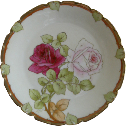 P T Bavaria Cabinet Plate w/Transfer Pink & Crimson Rose Blossoms Motif